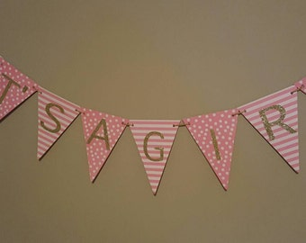 Pink and gold It's a girl banner