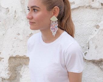 Dangle Statement Earrings / Beaded Drop Earrings / Pastel Earrings / Vintage 80s Earrings / Costume Jewelry / Vintage Jewelry