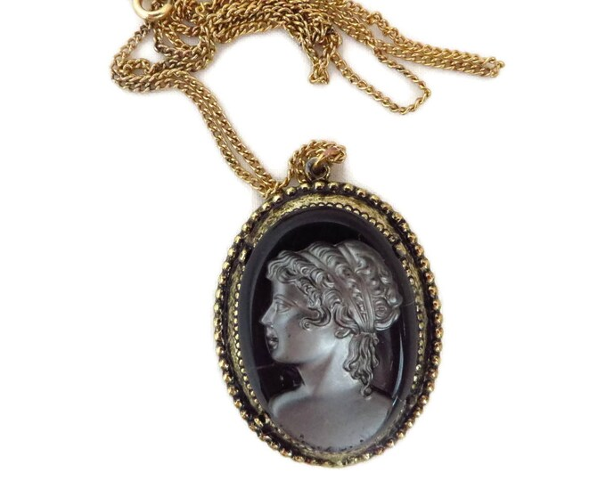 Vintage Cameo Necklace -  Black & Gray Glass Pendant, Gold Tone Chain Necklace, Flawed Cameo