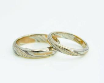 Love wind - Mokume Gane 3 gold/silver wedding band