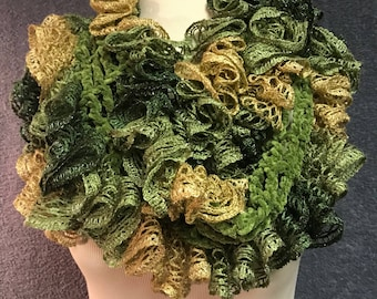 Explosion of Ruffles Green Scarf, Crochet, Hand Crafted
