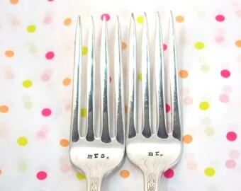 Mr. Mrs. Fork Set - Hand Stamped Vintage Silverware, wedding forks, wedding gift