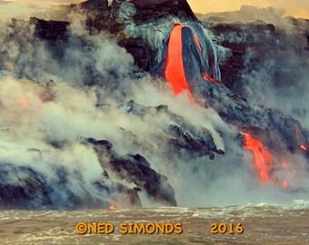 "Big Island Hawaii Kiluea Volcano Lava Flow Into The Ocean  11""X14"""
