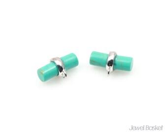 Turquoise Pendant in Rhodium / 11mm x 7mm / STQS087-P (2pcs)