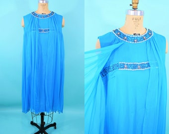 1960s chiffon dress | AS IS blue empire beaded cocktail dress | vintage 60s dress | B 40""
