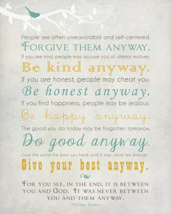 Mother Teresa Quote Wall Art Print   Forgive Them Anyway   Many Print Sizes  Available