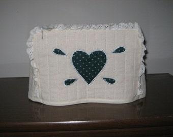 2Slice Toaster Cover Dark Green Heart Design