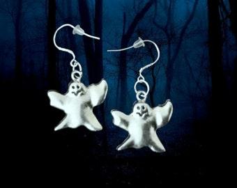 50% On SALE Ghost Earrings..Ghost Costume Earrings..Halloween Earrings..Halloween Jewelry..925 Sterling Silver Wire Earrings..FREE SHIPPING