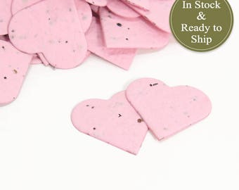 Soft Pink Plantable Seed Paper Confetti Hearts / Pink Baby Shower Favor / Wedding Favors / Unique Bridal Shower Favor / Plantable Paper