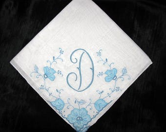 Embroidery Handkerchief Wedding Hankie Initial D B E K F or H Letter Monogrammed