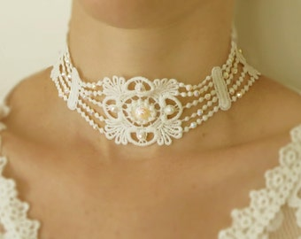 Lace headband with Acrylic Swarovski necklace or hair piece for bride Boho Bohemian vintage style wedding accessories.