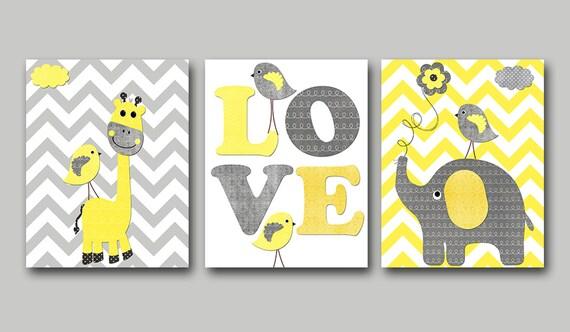 Yellow and Gray Baby Boy Nursery Art Print Children Wall Art
