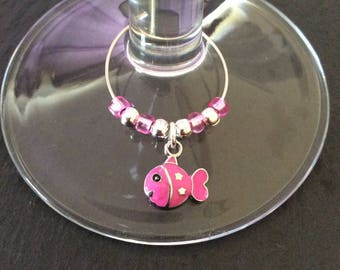 Pink fish wine glass charm / animal wine glass charms / wine charms / animal lover gift / wine lover gift