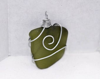 Sea Glass Wire Wrapped Pendant #181