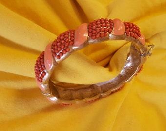 ON SALE, Banana Republic, Vintage Bracelet, Orange Bangle, Coral Bracelet, Snap Clasp, Vintage Jewelry, Beaded Bangle, Beaded Bracelet,