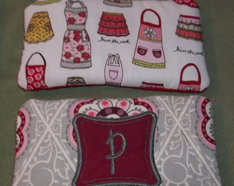 """Coupon Organizer Clutch Sorts Coupons Vintage Aprons Fabric Pattern Monogramming extra 4' 'x 7"""" Purse comes with 10 manilla dividers 3"""" X 5"""""""