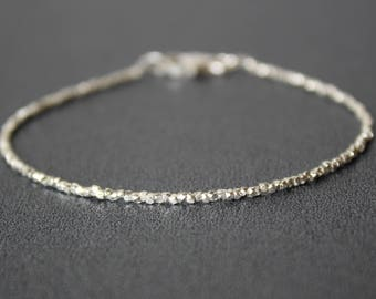 Karen Hill Silver Bracelet, Super Skinny Silver Bracelet, All Silver Bracelet, Dainty Beaded Gemstone Stacking Bracelet, Karen Hill Silver