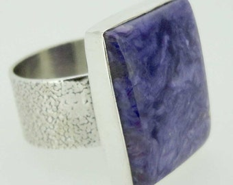 925 Sterling Silver Natural Purple Charoite Crystal Gemstone Handmade Square Ring Size 9 Unique Jewelry High Quality Gift Ideas India# 14720