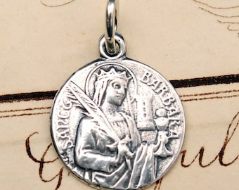 St Barbara Crowned Medal - Patron of architects, firefighters and against storms - Sterling Silver Antique Replica