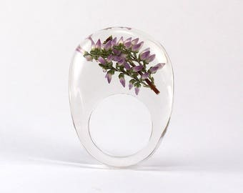 Clear Resin Ring with Heather Twig, Resin Ring, Resin Jewelry, Botanical Jewelry, Statement Ring, Floral Jewelry