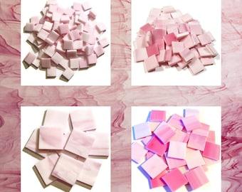 Bubblegum Pink Squares Stained Glass Mosaic Tiles Opal Hand Cut Spectrum