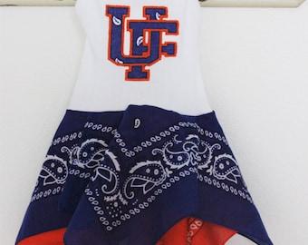 UF Florida Gators inspired baby dress, blue and orange University of Florida girls outfit