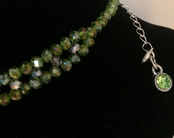 House Colors Inspired Crystal Beads Choker Necklace Green Silver