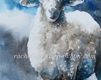 blue nursery art SHEEP PRINT from watercolor sheep painting kids art print baby boy lamb painting in blue white gray grey nursery art print