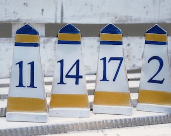 Lighthouse wedding numbers Nautical table numbers for wedding Wood lighthouses Beach wedding decor Custom colors Freestanding numbers