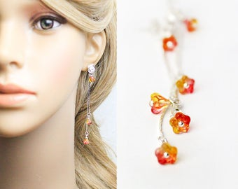 red-orange earrings summer jewelry flower earrings girls gifts bridesmaid earrings flower stud earrings bright orange jewelry/for/women L249