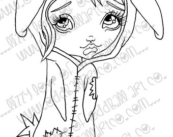 Digi Stamp Digital Instant Download Big Eye Creepy Cute Zombie Bunny Girl ~ Mary Meat Bag Image No. 71& 71B by Lizzy Love