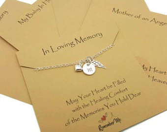 In Loving Memory Memorial Necklace, Sympathy Gift, Memorial Jewelry, Personalized Initial, Heart, Angel Wing in Sterling Silver, Bereavement