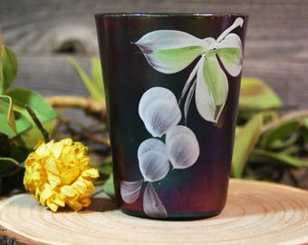 Vintage PURPLE GLASS- Handpainted with Iridescent Sheen- Carnival Glass- Antique Home Decor Cup- R21