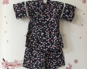 Toddler Kimono Costume, , Cute Outfits For Girls, Blue With Sakura Design , Baby Kimono, Child Kimono, Baby Jinbei, Photo Prop Idea