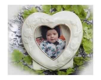 Heart picture frame -heart picture holder -wedding picture frame -china  picture frame -porcelain frame -ceramic frame - white frame -# 27