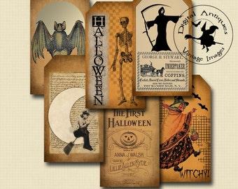 Vintage Halloween Tags II Printable Digital Download