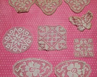 Antique Lace Vintage Lace Trim Filet Lace 9 Pieces Butterfly