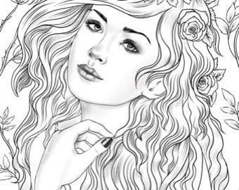 Nymph - Printable Adult Coloring Page from Favoreads (Coloring book pages for adults and kids, Coloring sheets, Coloring designs)