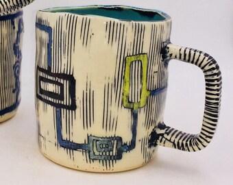 Handmade ceramic Mug, water etched, ragged edge #649
