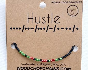 HUSTLE Morse Code Seed Bead Beaded Bracelet