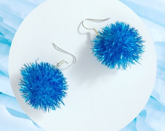 Sparkly Blue Pom Pom Earrings!