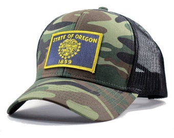 Homeland Tees Oregon Flag Hat - Army Camo Trucker