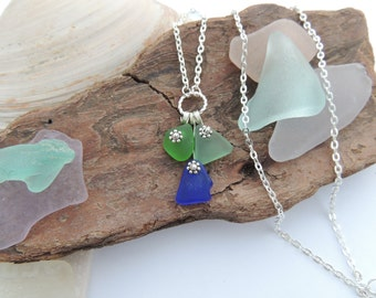 Cobalt Blue, Green and Aqua Lake Erie Beach Glass Necklace, Authentic Beach Glass