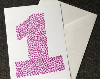 Purple Number One Card - Hand Drawn