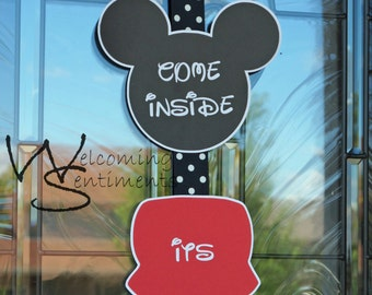 Mickey Mouse Come Inside It's Fun Inside door sign