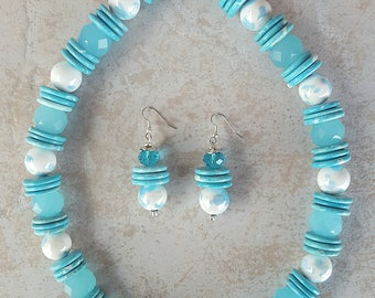 Blue Ceramic and Glass Necklace and Earring Set