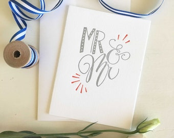 Gay Wedding Card, Gay Engagement Card, Mr and Mr Card, Gay Wedding, Gay Wedding Gift, Gay Engagement Gift, Letterpress Cards, Calligraphy