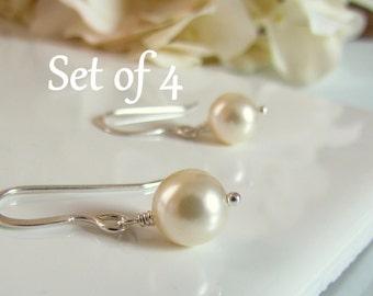 Bridesmaid Pearl Earrings, Ivory Pearl Earrings, Set of Four, Simple Pearl Earrings, Cream Pearls, Sterling Silver, Gift Set