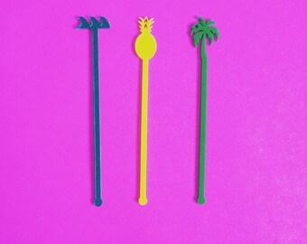 Palm Tree, Drink Stirrer, Perfect Weddings, Wedding Shower, Tropical, Swizzle Sticks, Party, Summer, Acrylic, Laser Cut, Bar Decor, 50 Pack