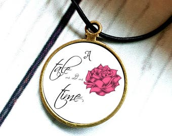 Beauty and the Beast pendant necklace, Beauty and the Beast, Tale as old as Time, Rose Necklace, Rose Jewelry, Gift for Her, Enchanted Rose